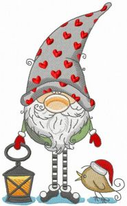 Gnome in phrygian cap with hearts holding lantern embroidery design