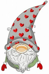 Gnome in phrygian cap with hearts embroidery design