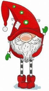 Gnome in red phrygian cap and boots embroidery design