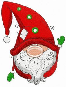 Gnome in red phrygian cap embroidery design