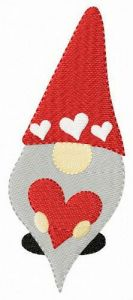 Gnome with valentine card embroidery design