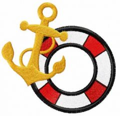 Gold Anchor and lifebuoy 2 embroidery design