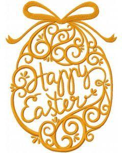 Gold Easter egg embroidery design