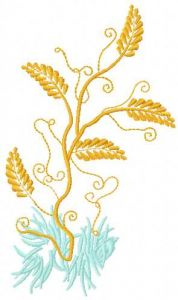 Gold plant embroidery design