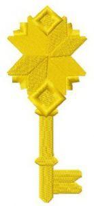 Golden key embroidery design 5
