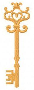 Golden key machine embroidery design 12