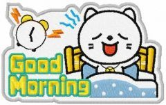 Good morning kitty embroidery design
