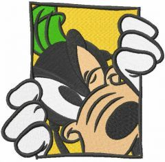 Goofy in the window embroidery design