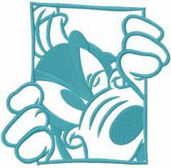 Goofy in the window one colored embroidery design