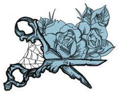 Gothic scissors embroidery design
