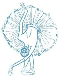 Graceful ballet dance one color embroidery design