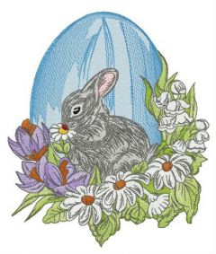 Gray Easter bunny embroidery design