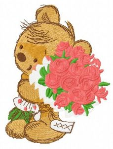 Great bouquet for my teddy 2 embroidery design