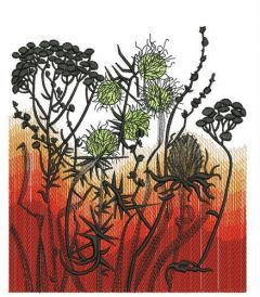 Greater burdock and tansies embroidery design