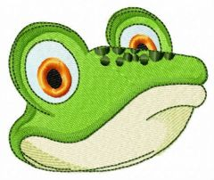 Green frog muzzle embroidery design