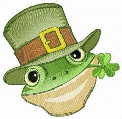 Green frog with clover embroidery design