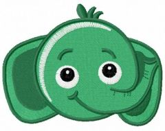 Green funny elephant embroidery design