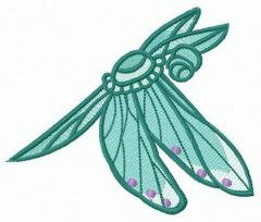 Green dragonfly embroidery design