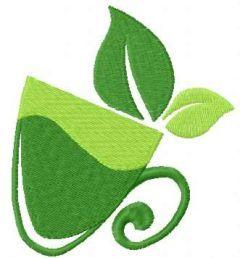 Green mug embroidery design