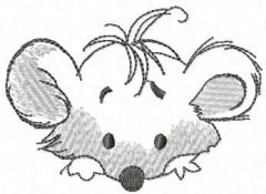 Grey mouse muzzle embroidery design