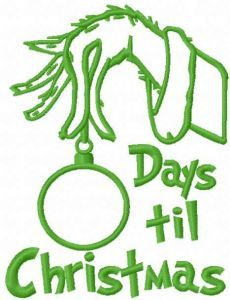 Grinch countdown embroidery design