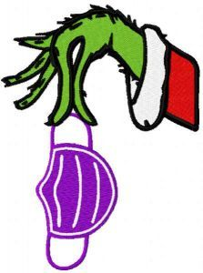 Grinch hand with nurse mask embroidery design