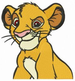 Grinning Simba embroidery design
