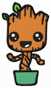Groot in flower pot embroidery design