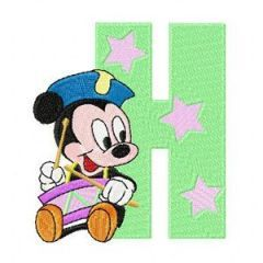 Mickey Mouse H Holiday embroidery design