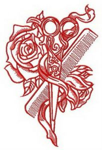 Hairdresser's tools embroidery design