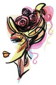 Hairstyle with roses embroidery design