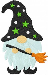 Halloween dwarf with broom embroidery design