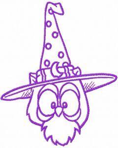 Halloween violet owl embroidery design