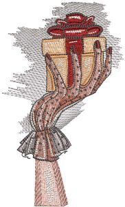 Hand with gift embroidery design