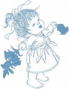 Happy baby girl with flowers embroidery design