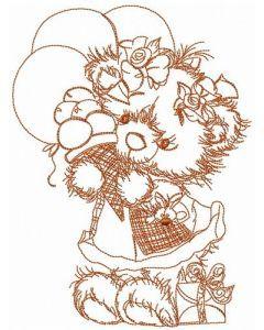 Happy Birthday, teddy bear! sketch embroidery design