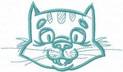 Happy cat muzzle embroidery design