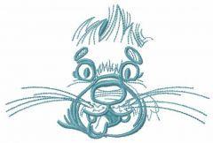 Happy dog muzzle embroidery design