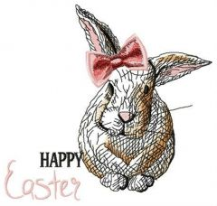 Happy Easter, bunny girl embroidery design