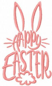 Happy Easter one colored free embroidery design