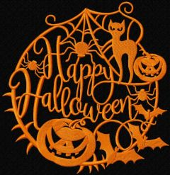 Happy halloween silhouette embroidery design