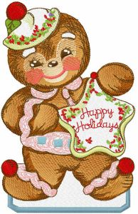 Happy Holidays gingerbread embroidery design