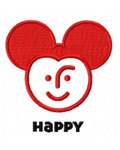 Happy Mickey embroidery design