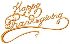 Happy thanksgiving phrase embroidery design