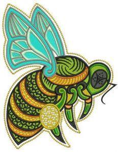 Hardworking bee embroidery design