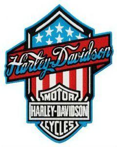 Harley-Davidson retro style logo embroidery design