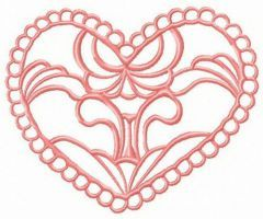 Heart decoration element embroidery design