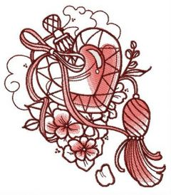 Heart-shaped vial embroidery design