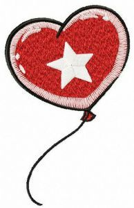 Heart-shaped balloon embroidery design
