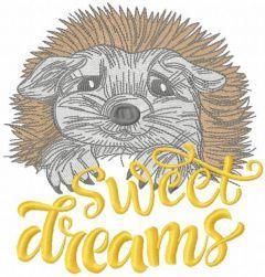 Hedgehog sweet dreams embroidery design